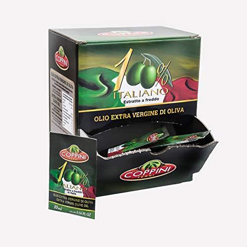 Olio extra vergine di oliva Coppini 100{be9c027cbf6a332ee7fdab32cfdc9bc49fd8f9e41c35eb49b897b7a3138268b6} Italiano estratto a freddo in bustine monodose 10 ML - 1 dispenser x 104 bustine