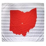 Columbus Ohio State Baby Blanket Organic Cotton Muslin Swaddle Blanket - 47' x 43' - Fans of Ohio State Buckeyes Baby Gift for Boys or Girls OSU