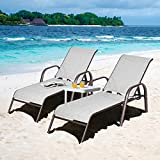 Giantex 2 Pcs Outdoor Chaise Lounge Chair, Adjustable Reclining Lounge Chairs Patio Furniture, Backyard Lawn Sling Chaise w/Adjustable Back, Folding Recliners for Beach Yard Pool (Light Gray)