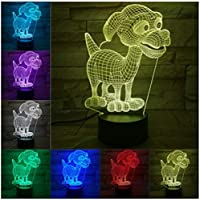 3Dイリュージョンナイトライト かわいい犬 キッズ3DLEDナイトライトファッション7色段階的に変化するスマートタッチスイッチUSBテーブルランプホリデークリスマスおもちゃギフト家の装飾