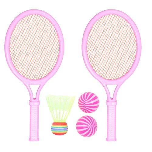 ABOOFAN 2pcs raqueta de tenis juguete estilo de dibujos animados raqueta divertidas actividades al aire libre juguete equipo de fitness para niños jugando (rosa)