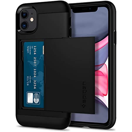 Spigen iPhone 11 ケース 6.1インチ 対応 米軍MIL規格取得 カード 収納 耐衝撃 指紋防止 傷防止 衝撃 吸収 Qi充電 ワイヤレス充電 スリム・アーマー CS 076CS27435 (ブラック)