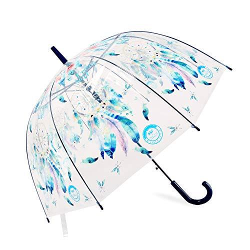 Ombrello Dream Catcher Ombrello trasparente Apollo Birdcage Ombrello semi-automatico Cupola Bubble Ombrello Personalità Regalo creativo (blu)