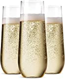 48 Pack Stemless Plastic Champagne Flutes Disposable 9 Oz Clear Plastic Toasting Glasses...
