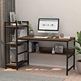 Computer Desk with 4 Tier Storage Shelves - 41.7'' Student Study Table with Bookshelf Modern Wood Desk with Steel Frame for Small Spaces Home Office Workstation Walnut