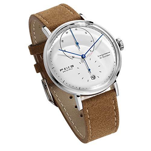 FEICE Herren Analog Uhr Mechanische Automatikwerk mit Gewölbtes Glas Kalender Bauhaus Armbanduhren - FM202 (Braun Lederband)