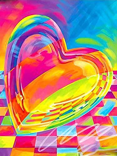 5D pintura de diamante color amor corazón redondo completo diamante mosaico arte mosaico venta artesanía regalo decoración de pared/60x80cm