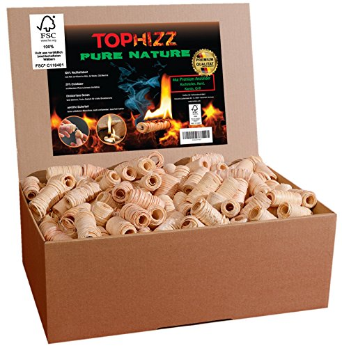 Pure Nature Anzünder Kamin Holzwolle Wachs – FSC-Zertifiziert- Made-In-Germany Grillanzünder/Ofenanzünder/Bioanzünder/Kaminanzünder-rauchlos/rußfrei/sicher