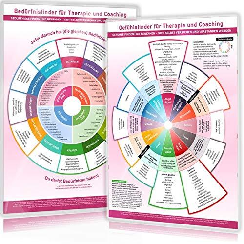 [2er Set] Gefühls- und Bedürfnisfinder für Therapie und Coaching (2020): - Gefühle & Bedürfnisse finden und benennen - sich verstehen, verstanden werden, Empathie geben (DINA4, laminiert)