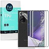 Ibywind [2 Piezas],Protector de Pantalla de Hidrogel para Samsung Galaxy Note 20 Ultra,con Protector de Lente de Cámara,Atrás Pegatina Protectora Fibra de Carbono,[Admite la función de Huella Digital]