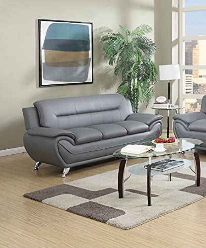 7 star Max sofa 3 Seater or 2 Seater in Black and Grey Faux Leather with Chrome silver legs (Gray, 3 Seater)