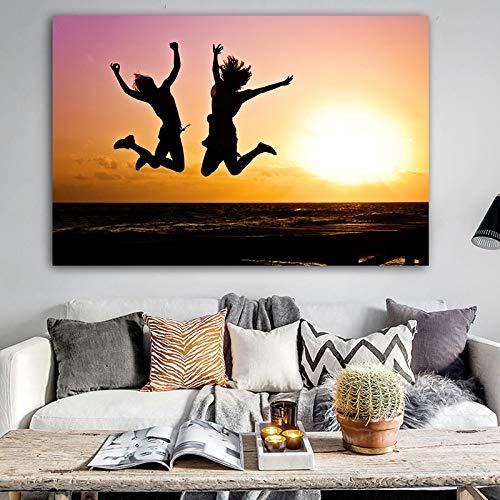 N / A Poster Wandkunst Leinwand Malerei Landschaft drucken Sonnenuntergang Strand Wandbild von Wohnzimmer Home Decoration Rahmenlos 30x45cm