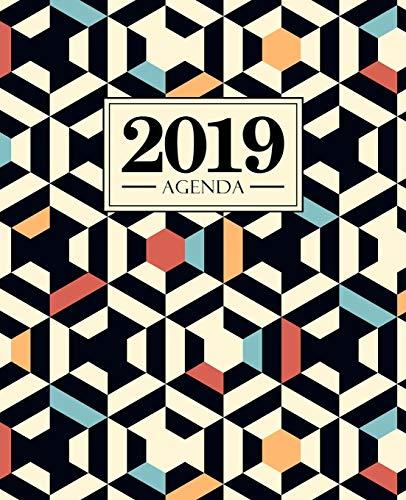 Agenda 2019: 19x23cm: Agenda 2019 settimanale italiano: motivo geometrico nero rosso e blu 5005