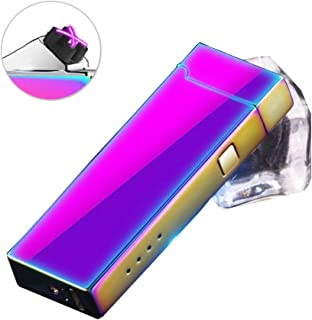 Humas Electric Lighter, Double Arc Electronic USB Rechargeable Lighter, Windproof Flameless Cigarette Lighter (Purple)