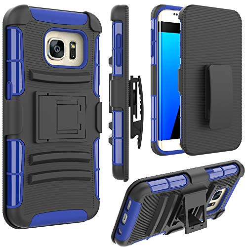 Jeylly Schutzhülle für Samsung Galaxy S7 Edge, Holster-Clips, Gürtelclip, integrierter Ständer, strapazierfähig, stoßdämpfend, für Samsung Galaxy S7 Edge G935, Blau