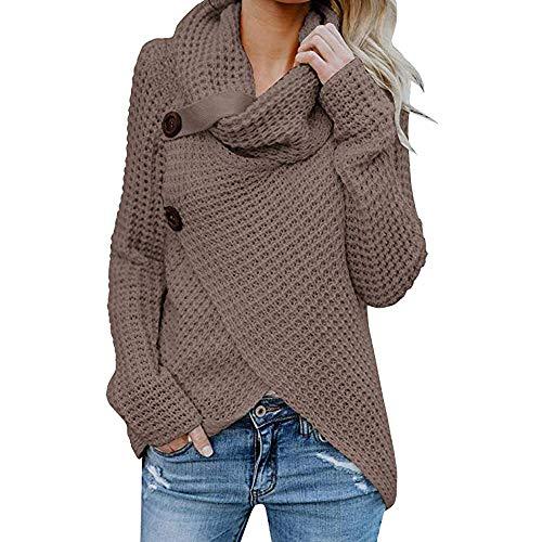 VECDY Damen Bluse | Weihnachten Geschenke | Frauen Langarm Solid | Sweatshirt Pullover | Tops | Bluse |T-Shirt | Elegantes Hemd mit | Knopfleiste | Hoodis | Karierter Pullover | Oben (40, Kaffee)