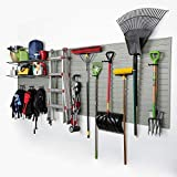 Flow Wall Modular Garage Wall Panel Storage Set with Accessories in Silver (15-Piece)