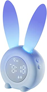 Bunny Kids Alarm Clock, Children's Sleep Trainer Clock, Night Light for Kids, 5 Ringtones, Sleep Timer with Digital Thermometer, Touch Control and Snoozing with 2000mAh Rechargeable Clocks