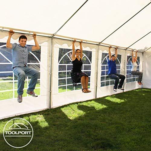 TOOLPORT Party-Zelt Festzelt 4x8 m Garten-Pavillon -Zelt ca. 500g/m² PVC Plane in weiß Wasserdicht - 3