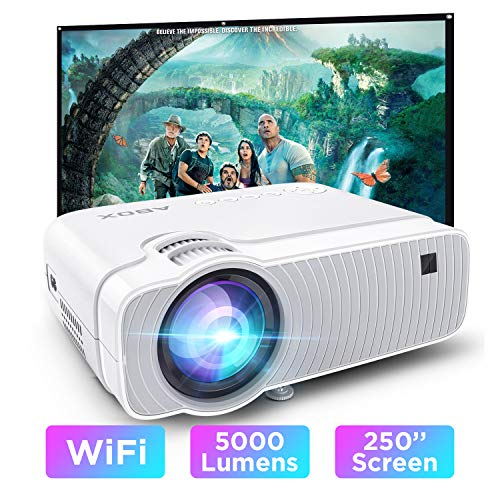 ABOX WiFi Beamer 5000 Lumen Unterstützt 1080P Full HD Wireless Projektor Max. 250\'\' Display Mini LED Dolby Sound kompatibel mit iPhone/Android Smart Phone/iPad/Mac/Laptop/PC