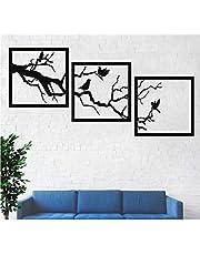 DEKADRON Metalen wanddecoratie, metalen boom en vogels muurkunst, metalen wanddecoratie, 3 panelen, (38 x 38 cm)