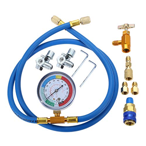 Aupoko A/C R134A Refrigerant Charging Hose Kit, Recharge Hose with Gauge, R13A Can Tap and Quick Couple, R410A Straight Swivel Adapter, Piercing Tap Valve Kits, 2PC 1/4'' Adapters with Valve Core