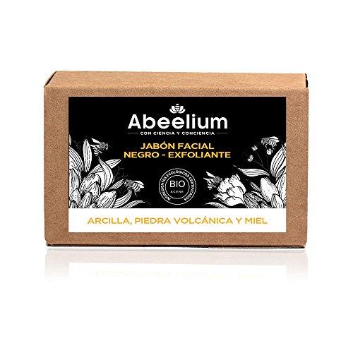 Abeelium | Jabon Facial Exfoliante Fuerte con Arcilla, Piedra Volcánica y Miel Detox | Limpia e hidrata en profundidad - Producto Natural y Ecológico | Hecho en España - 100 grs