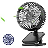 10000mAh Rechargeable Clip on Fan, 6 Inch Battery Operated USB Desk Fan, 53H Working Time, 4 Speeds, Portable Personal Fan for Baby Stroller Camping Treadmill Golf Cart Hurricane Home Office