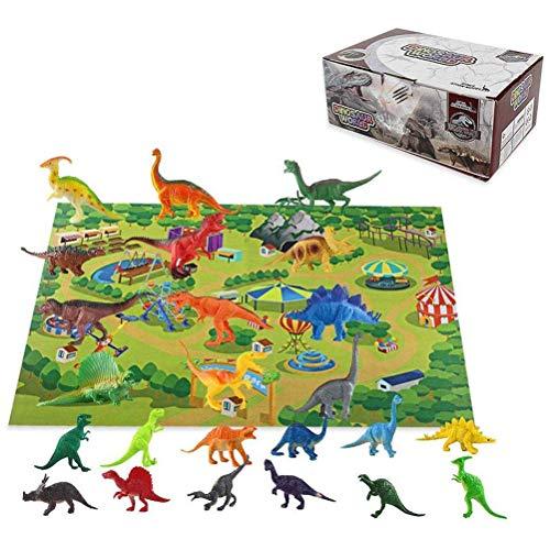 sdgfd Figuras de Dinosaurio realistas de Juguete, Estera de Juego Grande Juego de Juego de Dinosaurio con Caja de Almacenamiento, Regalo de Aprendizaje Educativo Alfombra de Juguete para niños