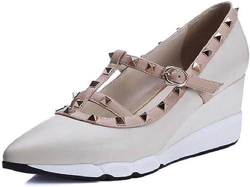 XIE Chaussures pour femmes Cuir véritable Rivet T-Strap T-Strap Mary Jane Plate-forme Coin Taille 35To38  haute qualité