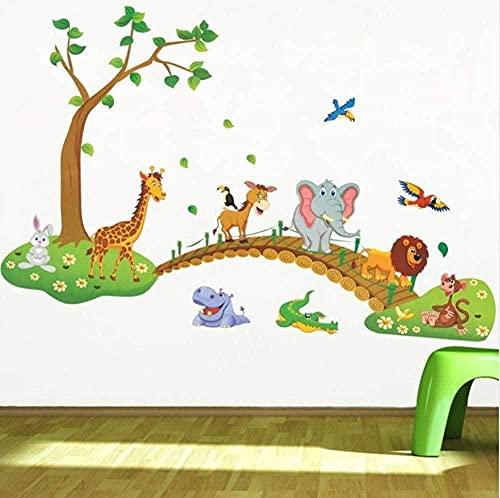 Animal salvaje Etiquetas de la pared de la jungla Etiquetas de la pared del león Árbol Puente Jirafa Elefante Pájaros Flores Habitación para niños Decoración del hogar