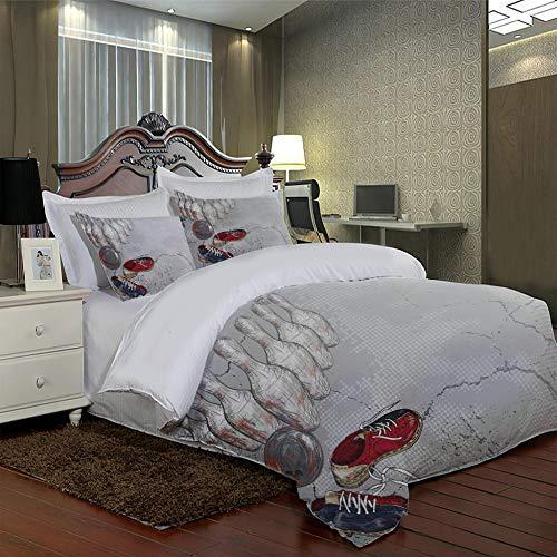 PKUOUFG Mikrofaser Kinder Bettbezug mit Kissenbezug W260 xL230cm Weiße Bowlingkugel Bettbezug für Doppelbett Kinder Jungen Teenager Männer Bettwäsche 3D-Foto Polyester 2 Teilig Bettbezüge Mikrofaser B