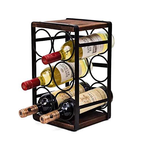 Tinyuet Estante de Vino de Encimera de Rústica, Estante de Botella de Vino Kit para Estantes de Presentación de Cocina y Barra de Vino - 6 Botellas - 32 * 24 * 18 cm