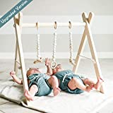funny supply Wood Play Gym with 3 Gym Toys Foldable Baby Play Gym