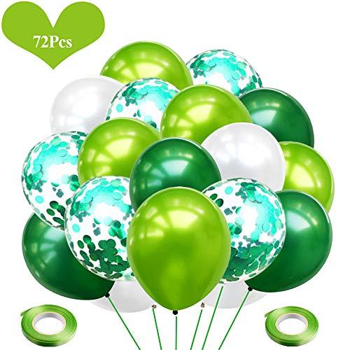 JWTOYZ 72 Stück Luftballons Grün Blau Rosa Weiß Konfetti Ballons mit Band für Geburtstag, Babyparty, Hochzeit - Grün
