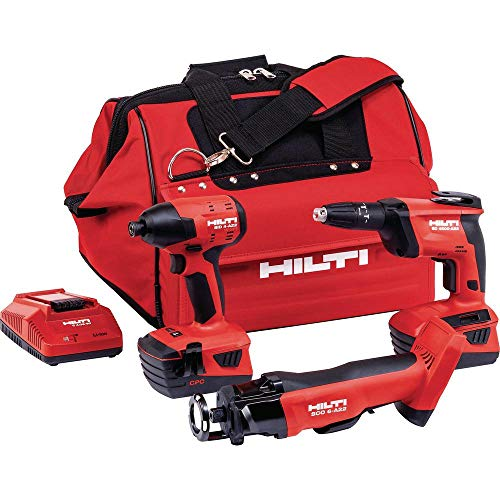 Hilti 22-Volt Lithium-Ion 3 Tool Cordless Combo with Drywall Screw Gun, Impact Driver, Brushless Cut Out Tool and Battery Pack