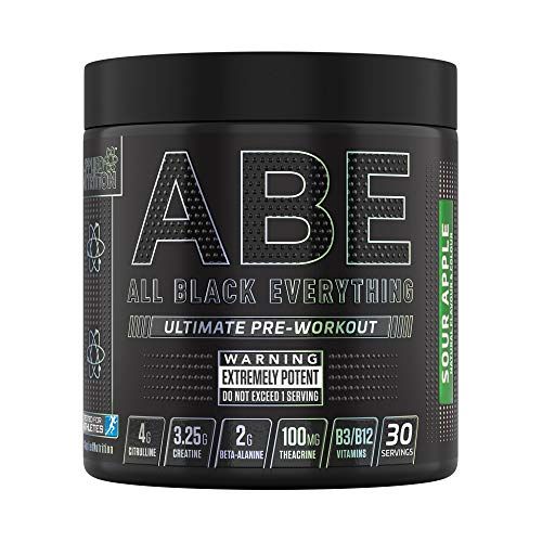 Applied Nutrition ABE - All Black Everything Pre Workout Energy, Increase Physical Performance with Citrulline, Creatine, Beta Alanine, Caffeine Vitamin B Complex, 315g, 30 Servings (Sour Apple)