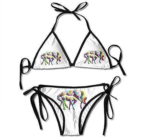 Traje de baño, Traje de baño de los Bikinis de Las Mujeres del Caballo geométrico Traje de baño Encantador del Bikini de la impresión