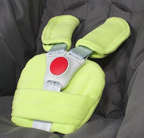 ByBoom - Gurtpolster Set - universal für Babyschale, Buggy, Kinderwagen, Autositz (z.B. Maxi Cosi City SPS, Cabrio, Cybex Aton usw.); In vielen Farben; MADE IN EU, Farbe:Limette