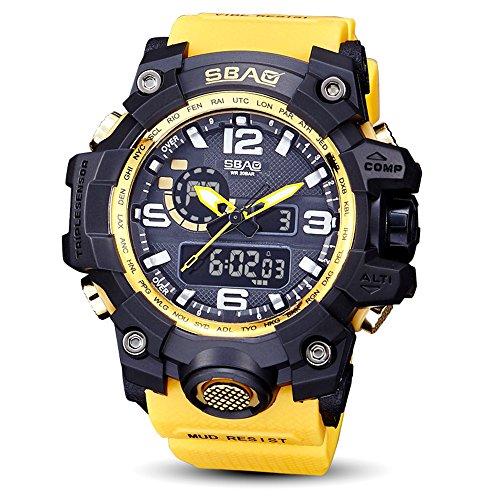 Ulanda Herren Jugendliche Jungen Multifunktions Digital Sportuhr Männer Wasserdicht Elektronisch Militär LED Digital Uhr mit Stoppuhr Männlich Armee Stoßfest Armbanduhr (Gelb)