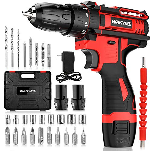 Cordless Drill Driver Kit with 2 Batteries, WAKYME 12.6V Power Drill 30Nm 18+3 Clutch, 3/8' Keyless Chuck, Variable Speed & Built-in LED Electric Screw Driver for Drilling Wall, Bricks, Wood, Metal