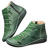 Honestyi 2019 Newest Arch Support Boots Bottes d'hiver Femme Bottes et Bottines Leather Ankle Boots Autumn Vintage Women Shoes Comfortable Flat Heel Boots Zipper Pas Cher Bottes