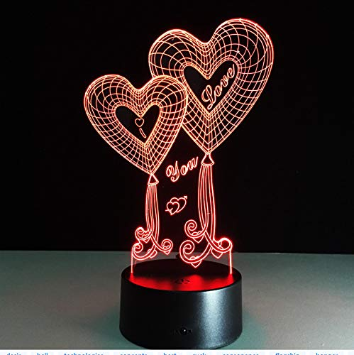 Luces de la noche de los enamorados Luces de led en 3D Habitación para niños Fiesta de dormitorio Día de San Valentín Decoraciones para bodas para esposas Regalos de Navidad