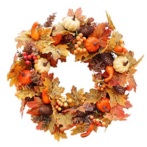 HAOJON Guirnalda Artificial para decoración de árbol de Chimenea, Marco de ratán de Guirnalda con Bayas de Calabaza, Cono de Pino y Hojas de Arce para Decoraciones navideñas de Halloween