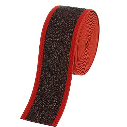 COTOWIN 1.5' Wide Glitter Elastic Bands,Black/red,3 Yards