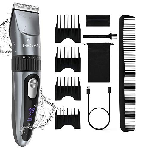 MEGAQ Hair Clippers for Men,Cordless Hair Trimmer Bread Trimmer Rechargeable Hair Cutting Kit Men's Beard Trimmer Waterproof USB Charging Wet/Dry