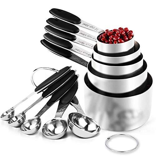 LiRiQi Juego de Tazas y Cucharas Medidoras de Acero Inoxidable, 5 Tazas de Medición 5 Cucharas Medidoras Utensilios de Cocina Hogar para Medir Ingredientes Líquidos Secos (10 Piezas)