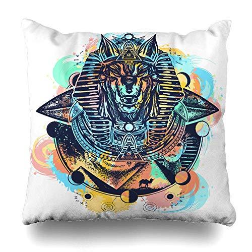 saletopk Kissenbezug, Tutankhamun Anubis Aquarellspritzer, Farbtattoo, entführtes Alien-Raumschiff, Amulett, antikes Ankh-Heimdekoration, quadratisch, 45,7 x 45,7 cm, mit Reißverschluss