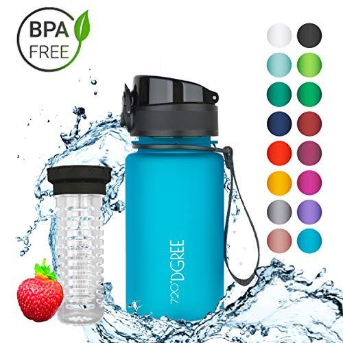 """720°DGREE Trinkflasche """"uberBottle"""" – 350 ml, 0,35 l, Blau - Neuartige Tritan Wasser-Flasche - Water Bottle BPA Frei - Ideale Sportflasche für Kinder, Fitness, Fahrrad, Sport, Fussball"""