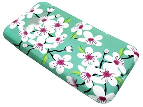 For Samsung Galaxy Sky S320VL Express Prime J3 J3V Amp (2016) SM-J321 Soft Flexi TPU Skin Protective Case Phone Cover+ Gift Stand (TPU Cherry Blossom)